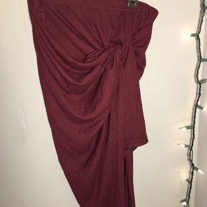 Maroon Asymmetrical Skirt